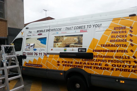 The Paver Trader Van Half Wrap